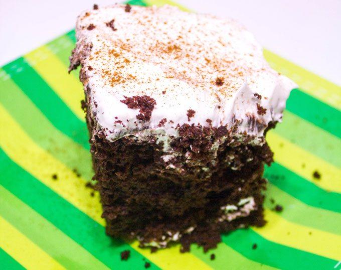Chocolate Eggnog Poke Cake