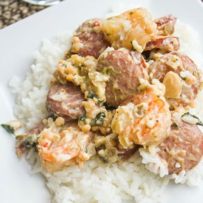 Creamy Shrimp and Sausage Skillet #SundaySupper