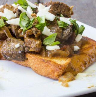 Open Faced Steak Sandwich