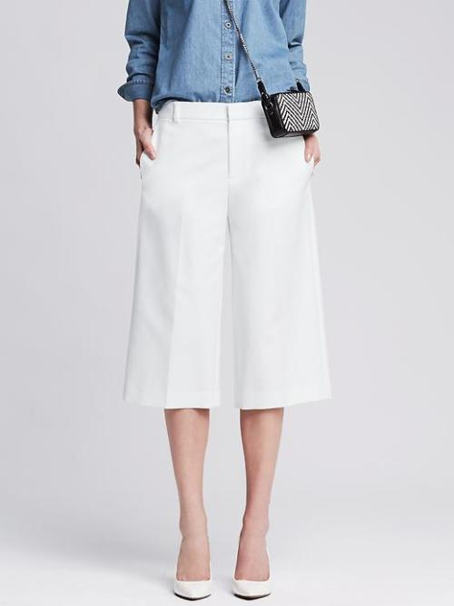 banana republic white culottes