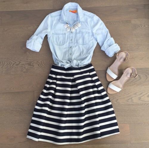 chicwish striped skirt chambray shirt