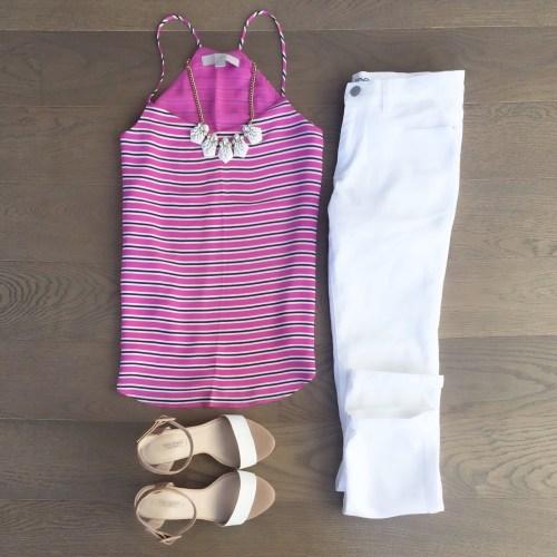 pink striped loft tank outfit zara heels