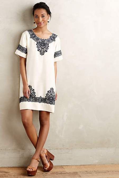 anthropologie embrodered dress