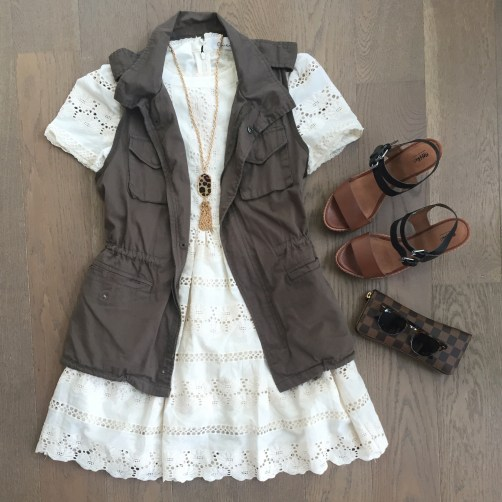 chicwish lace dress army vest outfit
