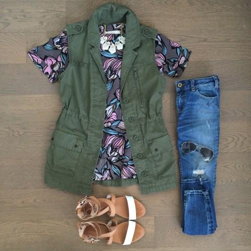 floral loft top army vest outfit
