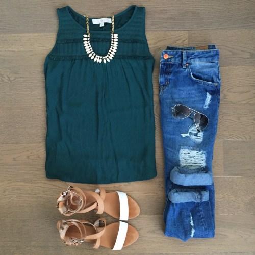 loft fringe tank top Zara jeans outfit