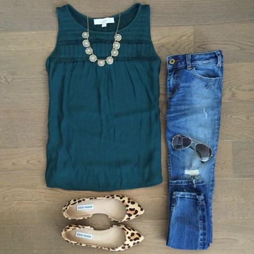 loft tank top leopard flats outfit