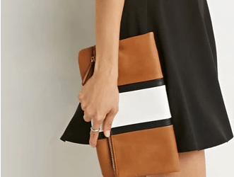 forever 21 faux leather racing stripe clutch