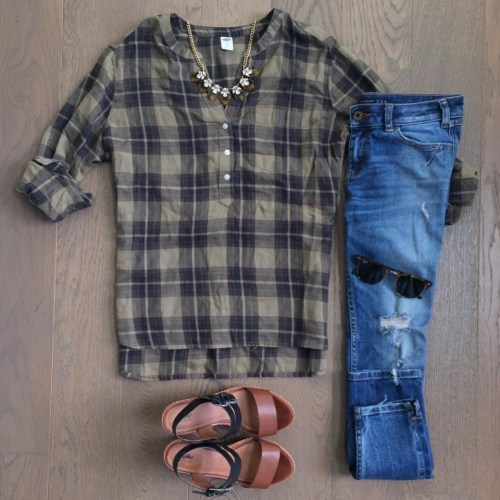 old navy green plaid tunic outfit