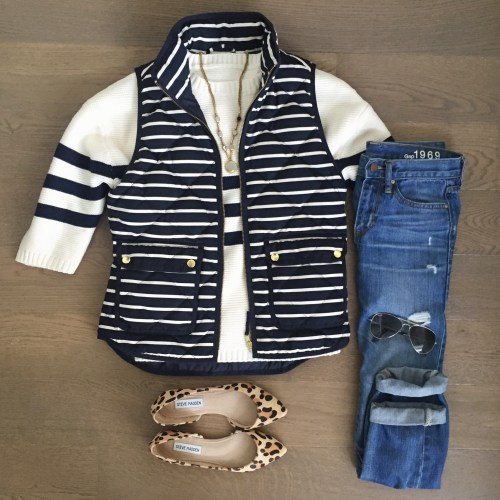 chicwish striped sweater jcrew vest leopard shoes outfit