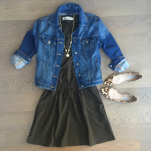 choies army green dress denim jacket outfit