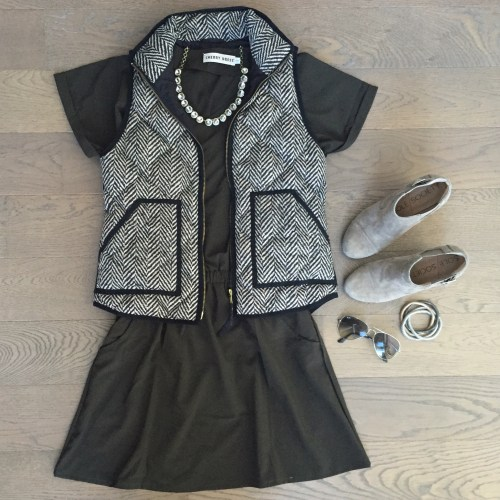 choies army green dress jcrew vest outfit