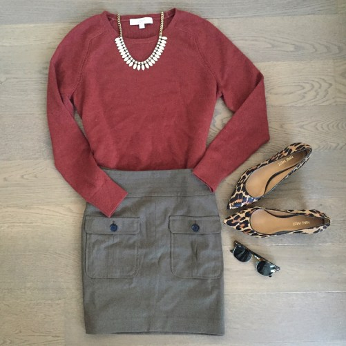 loft sweater and loft olive skirt outfit