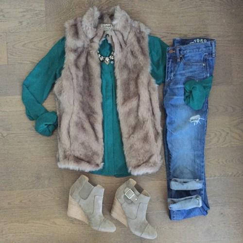 green loft top zara faux fur vest
