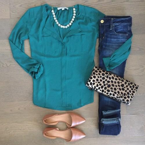 loft top clare vivier leopard clutch outfit