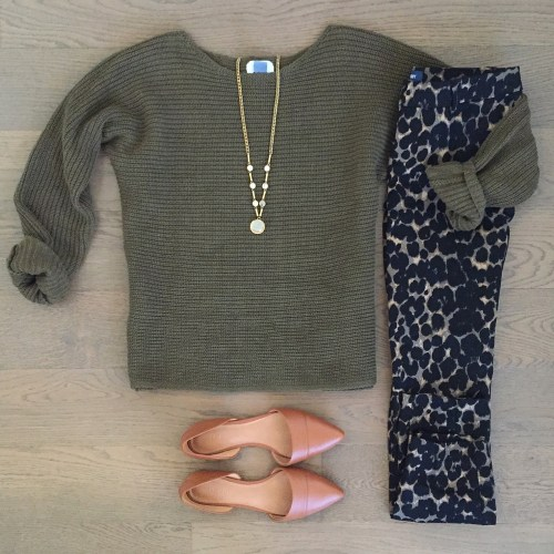 Old Navy Leopard pants and olive sweater outift