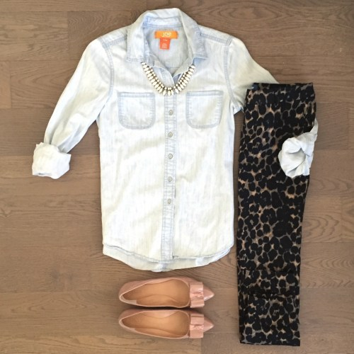 old navy leopard pants and chambray top outfit