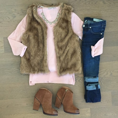 pink loft sweater zara faux fur vest outfit