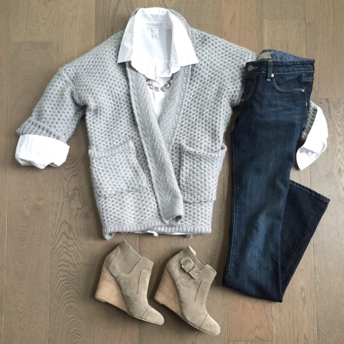 chicwish grey cardigan and sole society booties outfit