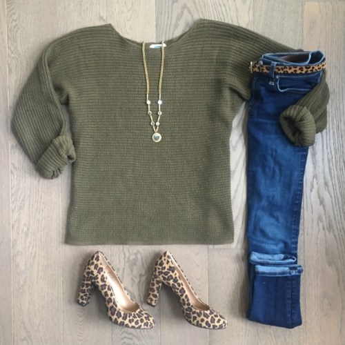 leopard and olive outfit