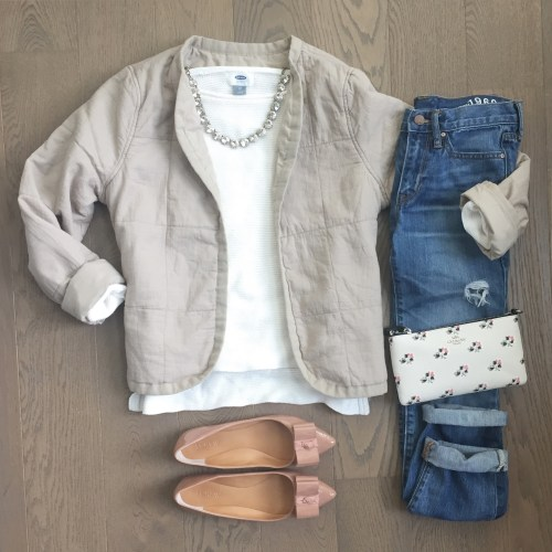 old navy quilted jacket pink bow flats outfit