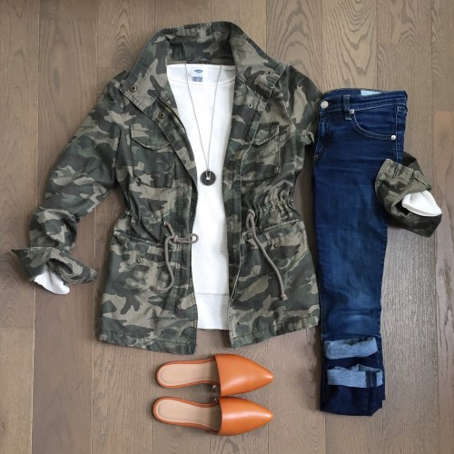 old navy mules and camo jacket outfit