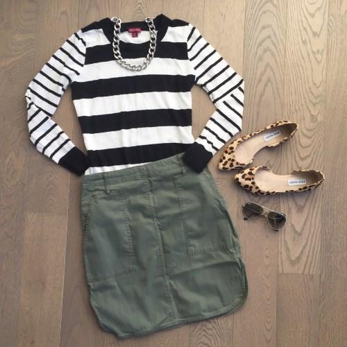 joe fresh khaki skirt and steve madden leopard flats outfit