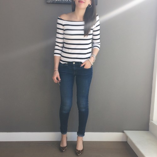 forever 21 Striped off the shoulder top outfit