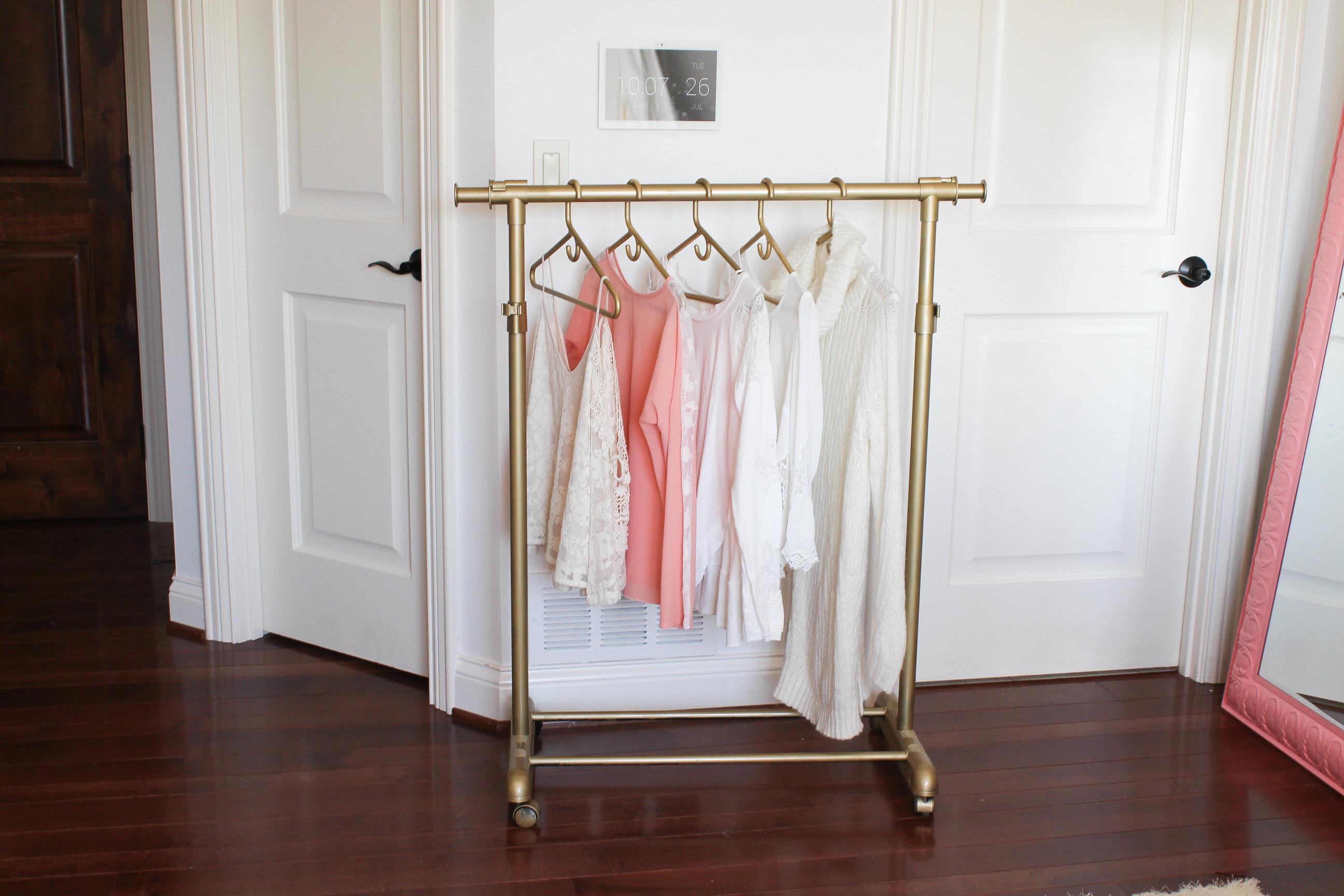 diy gold clothing rack under 30