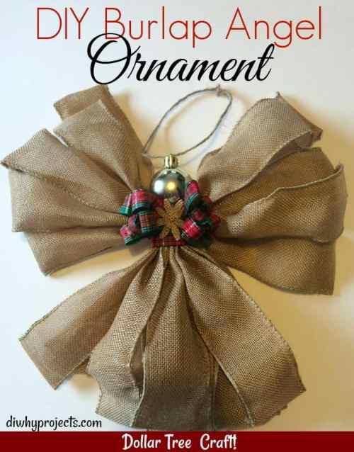 Dollar Tree Craft ~Burlap Angel Ornament