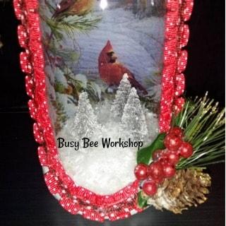 Feature Friday: Decoupage Christmas Wine Bottle Scene