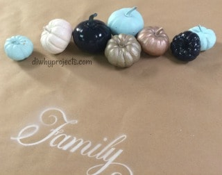 Fall Table Decor Painted Pumpkins and Stenciled Table Runner
