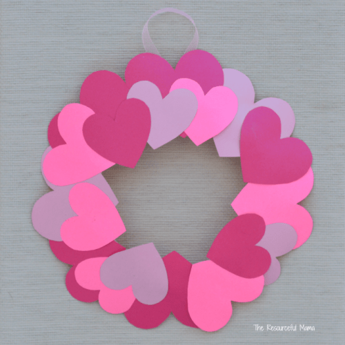 Heart wreath valentines day craft