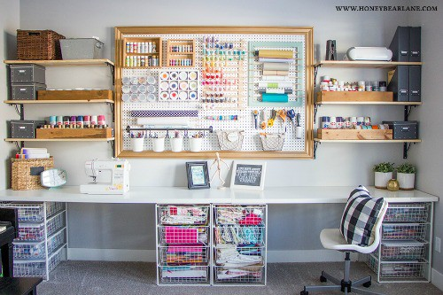 craftroom storage space with peg board hbl