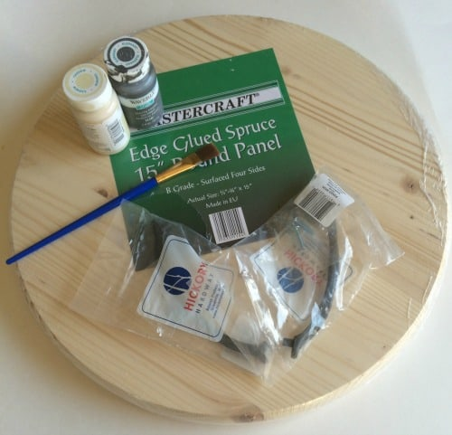 supplies needed to make a round wood farmhouse serving tray