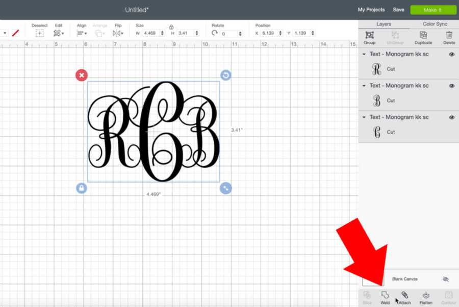 Weld your monogram initials together so they cut as one on your Cricut