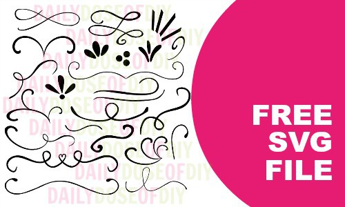 Text dividers and flourishes free SVG Cut file for designing text with your Cricut or Silhouette machine.