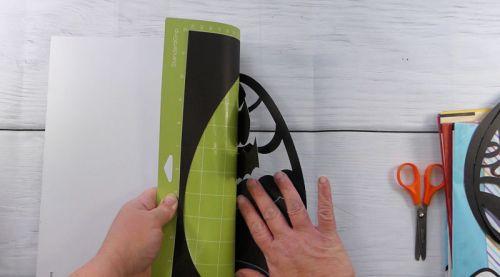 Remove the cut Easter egg suncatcher from the cut mat
