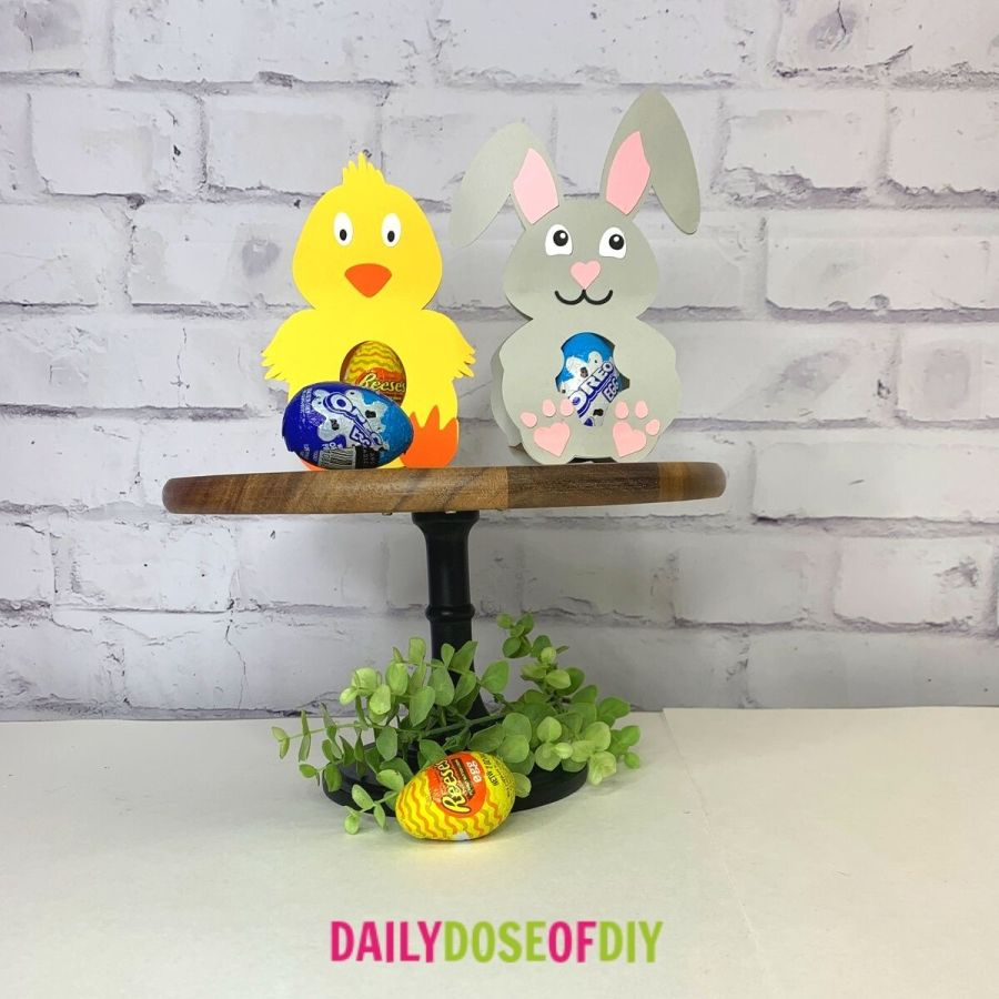 Easter bunny & chick candy holders with candy eggs in the center