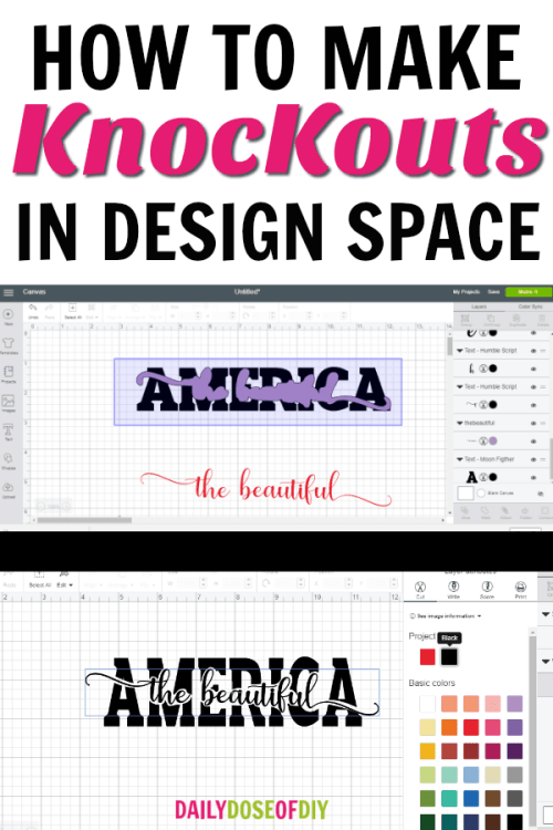 How to make knockouts designs in Cricut Design Space. Learn to put text in text plus images in text