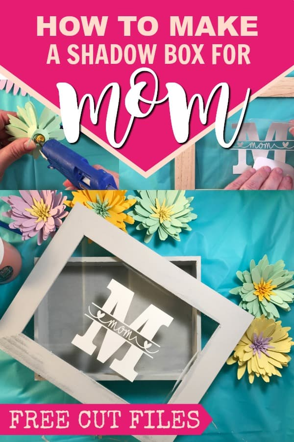 Make a paper flower shadow box for mom this Mother's Day.  Free SVG Cut files available for the paper daisy flowers and for the mom monogram.