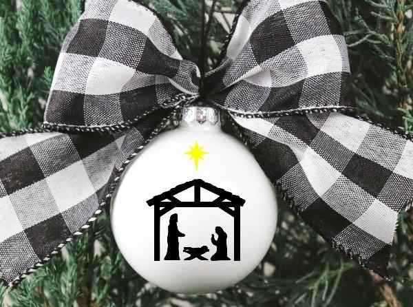 Christmas Ornament wit free Nativity SVg file