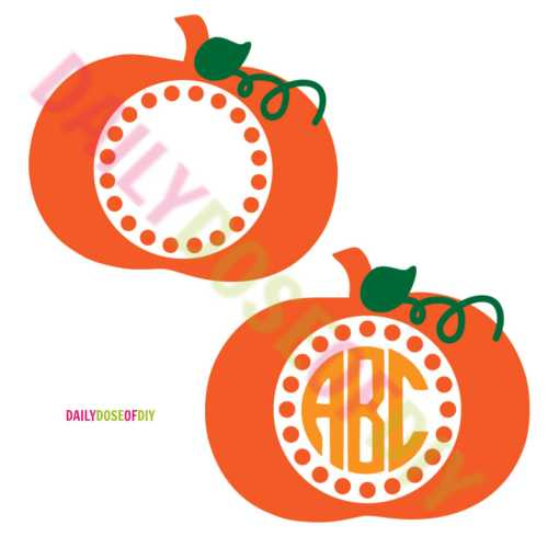 Pumpkin SVG file for a circle monogram