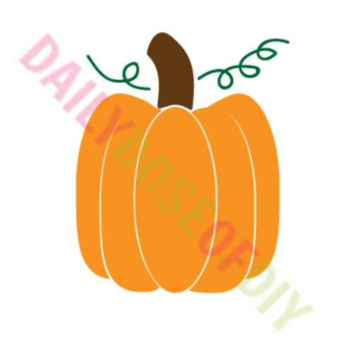 Pumpkin SVG file with vines and handle