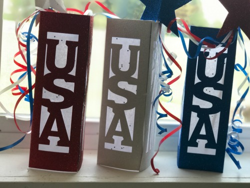 DIY Patriotic decor lanterns and stars, free SVG file included.