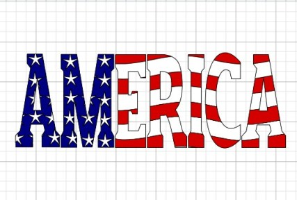 America with a flag knockout design