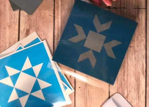 Free SVG file for Barn Star Quilt Block Stencils