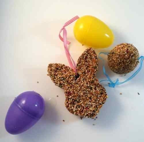 DIY Bird Feeders in the shape of a bunny and Easter egg.