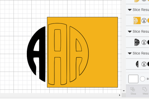 Free Circle Monogram after it's sliced in cricut design space