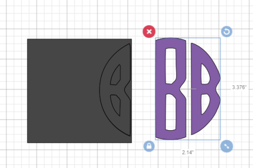 slicing the first and last letters to make a circle monogram in design space